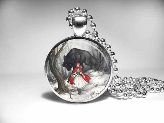 Steampunk handmade film cartoon mały Czerwony Kapturek naszyjnik 1 sztuk/partia brązu lub srebra szkło wisiorek – biżuteria