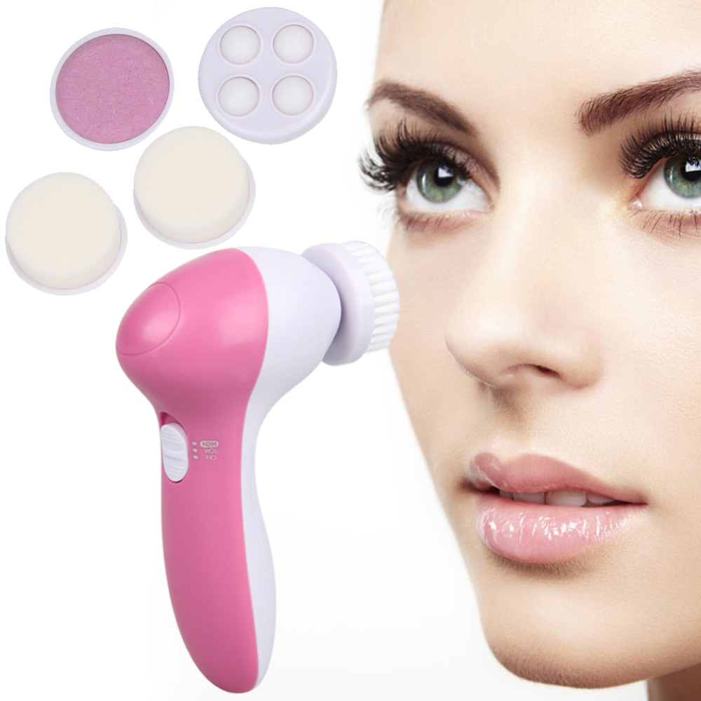 5 in Pink Electric Facial Cleaner Face Skin Care Brush Massager Waterproof Spin Body  Facial Pore Cleaner Face Massager deep face cleansing brush facial cleanser 2 speeds electric face wash machine