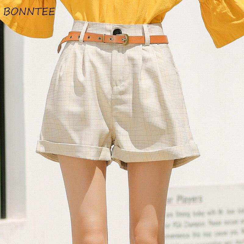Shorts Women Trendy Plaid Leisure Short Elegant All-match Summer Womens High Sashes Korean Wide Leg Students Clothing Sweet Chic