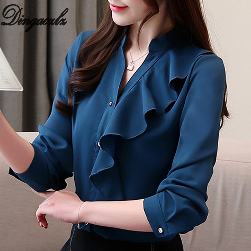 Dingaozlz Spring 2019 New Long Sleeve Women Tops Slim V Collar White Chiffon   blouse     Shirt   Casual Ruffles Lady   shirt   Blusa