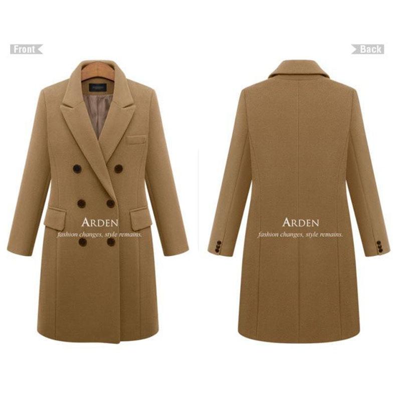 Autumn Winter Coat Women 19 Casual Wool Solid Jackets Blazers Female Elegant Double Breasted Long Coat Ladies Plus Size 5XL 8