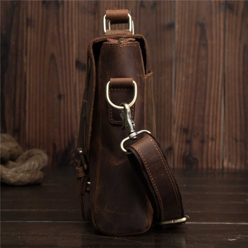 Men Oil Waxy Leather Antique Design Business Briefcase Laptop Document Case Fashion Attache Messenger Bag Tote Portfolio 2032 2 in Crossbody Bags from Luggage Bags