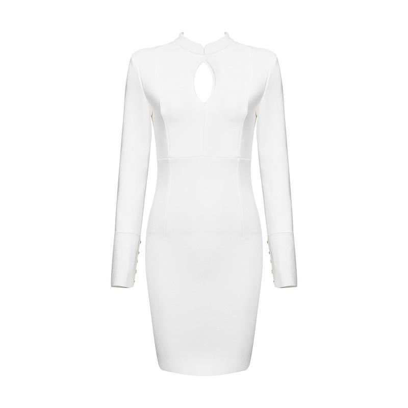 Femmes Moulante Manches Style Sexy Élégantes Robe Célébrité Blanc Longues Bandage Soirée 2017 Partie Robes Nouveau De Out Creux tdCsQrh