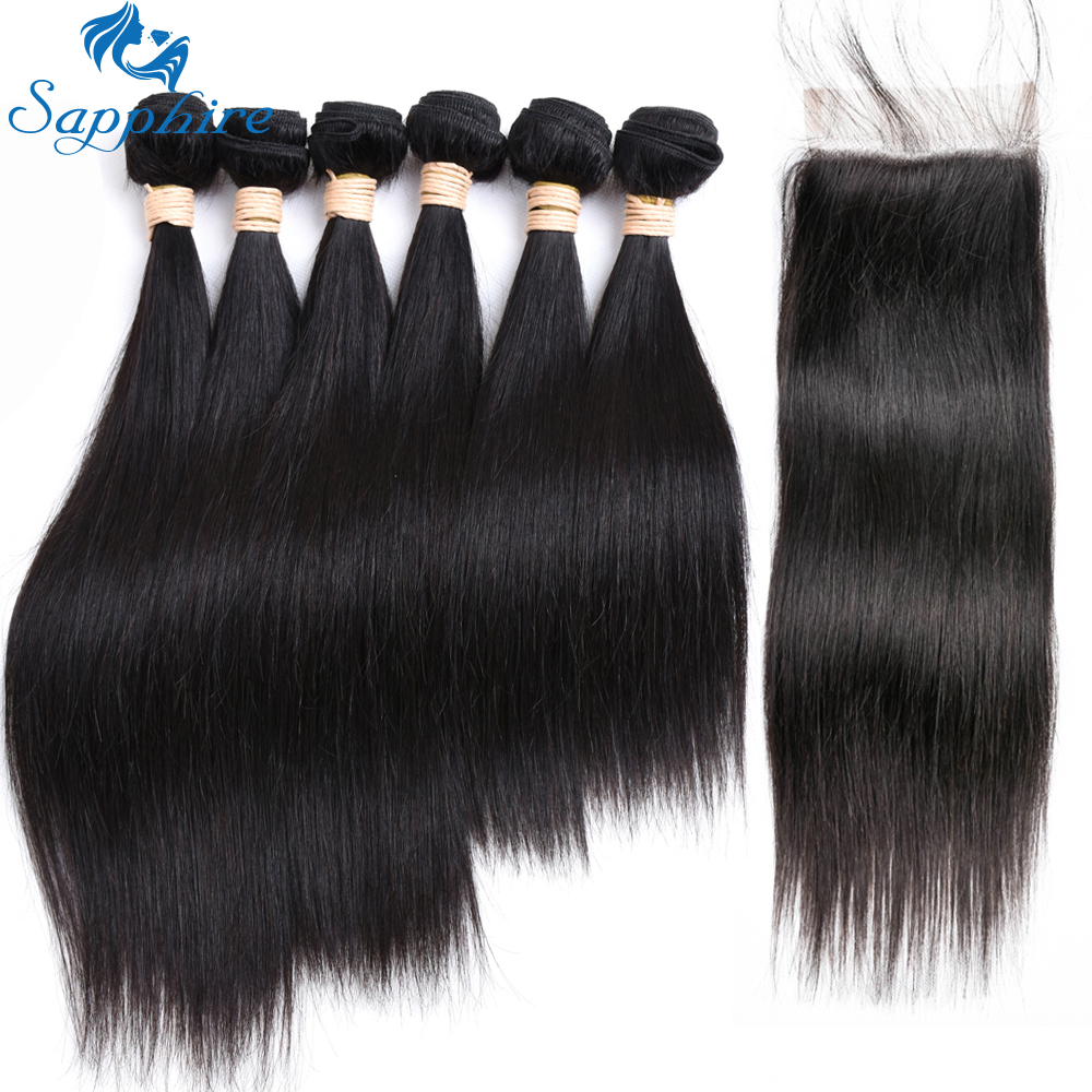 Sapphire Hair Extension 25 30g PC Peruvian Straight Human Hair Bundles With Lace Closure Human Hair
