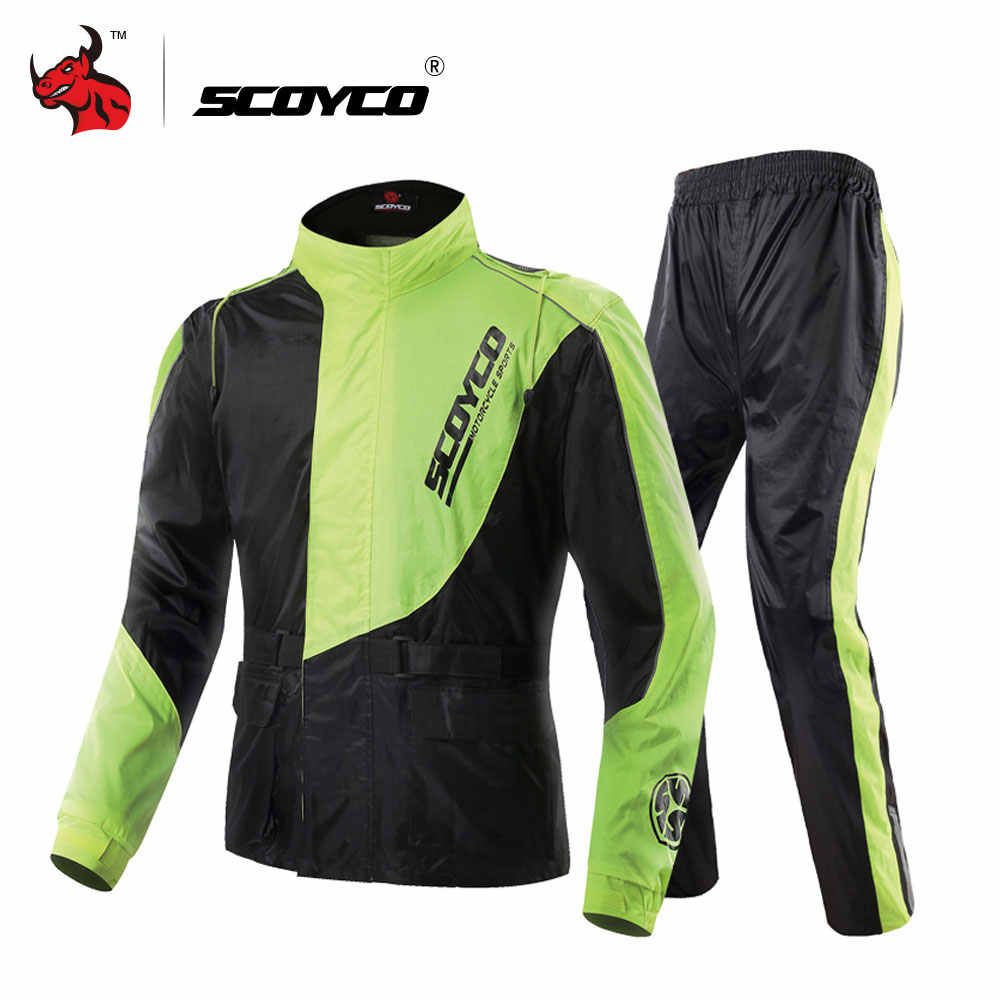 SCOYCO Waterproof Riancoat Suit Reflective Motorcycle Clothing Protective Jacket Waterproof Moto Jacket And Motorcycle Pants