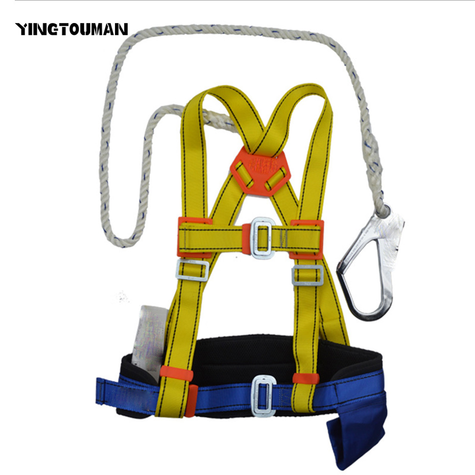 YINGTOUMAN Outdoor Full Body Climbing Harness Safety Seat Belt for Rock Climbing Rappelling Rescue Gear Equipment multifunctional professional handle pulley roller gear outdoor rock climbing tyrolean traverse crossing weight carriage fit