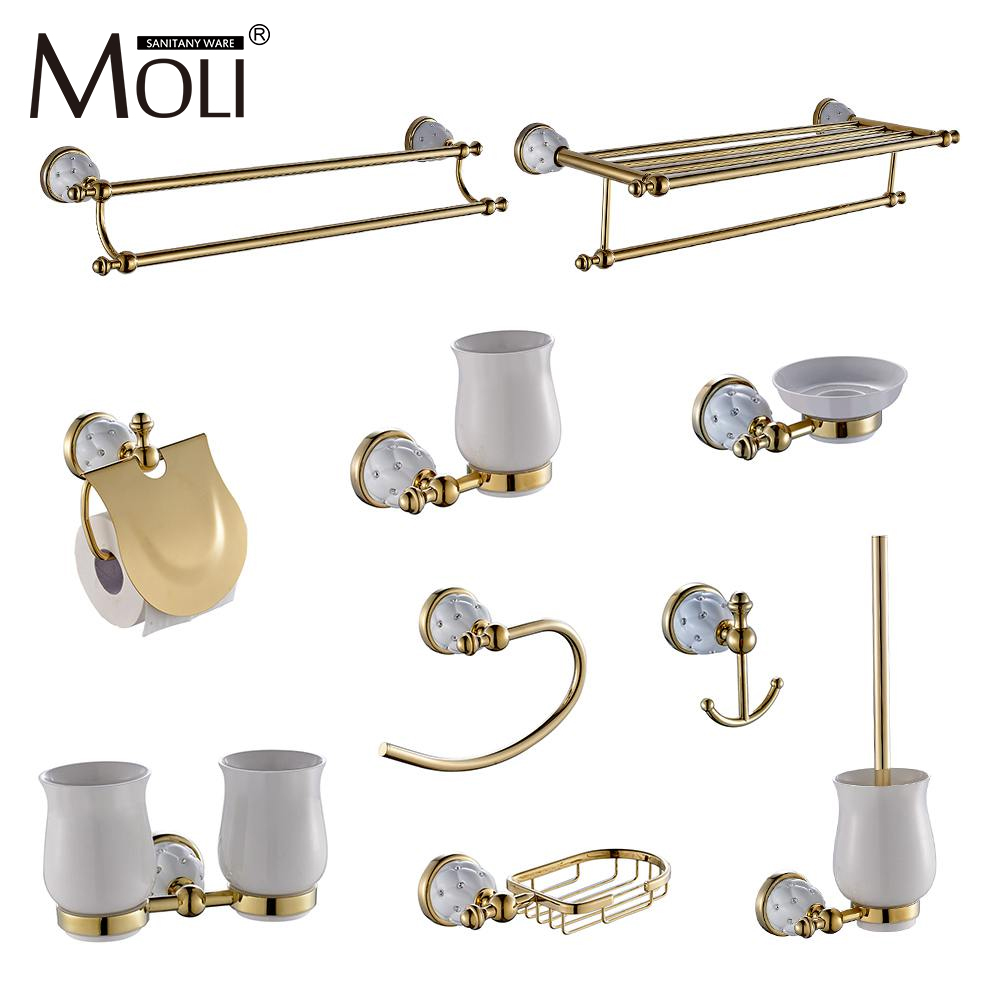 Luxury golden bathroom accessories with diamond, gold finish toilet paper holder towel bar shelf brush holders bath hardware set meifuju new arrival towel racks luxury bathroom accessories high quality golden finish bath towel shelf towel bar bath hardware