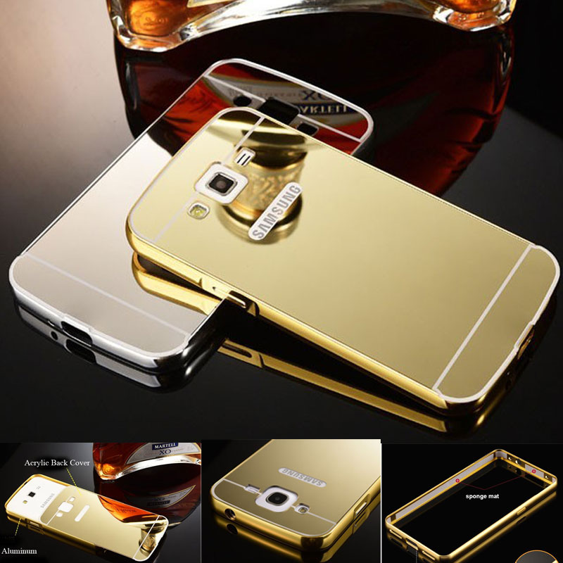 Luxury Aluminum Metal Frame+Mirror Acrylic PC Hard Case For Samsung Galaxy J1 J110 J2 J3 J5 J7 2016 Case J5 J7 Prime Bumper Case