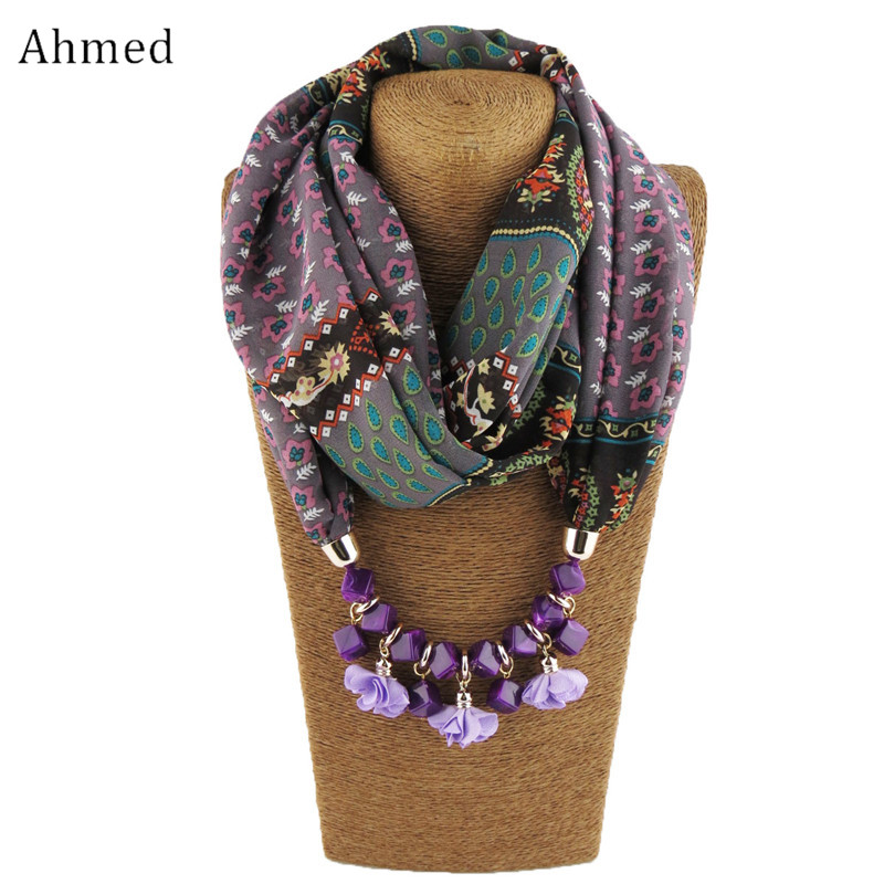 Ahmed New Geometric Beads Necklaces Printing Flowers Pattern Wrap Chiffon Statement Scarf Necklace For Women Bohemian Jewelry zbaiyh maternity dress autumn winter cotton knitted oneck long sleeve sweater dress for pregnant women solid color elegant dress