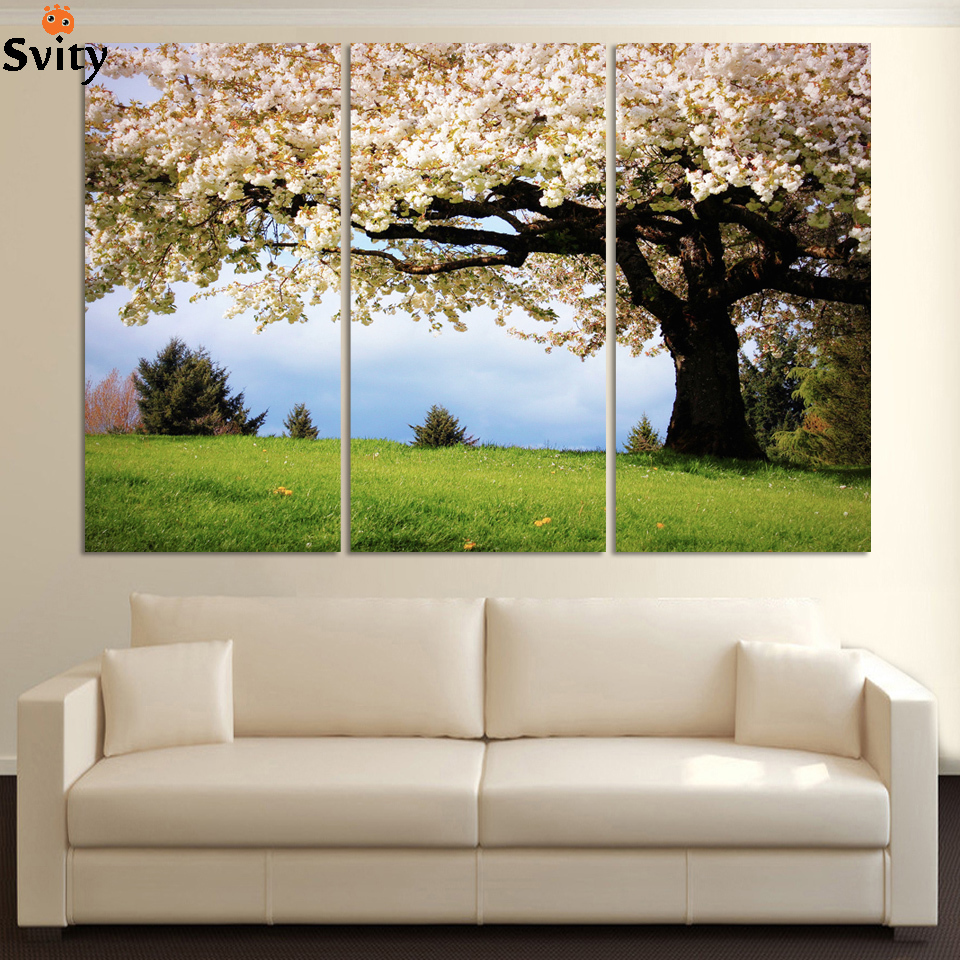Large Wall Pictures For Living Room: 3 Piece Art Oil Canvas Romantic Wall Art Tree Picture