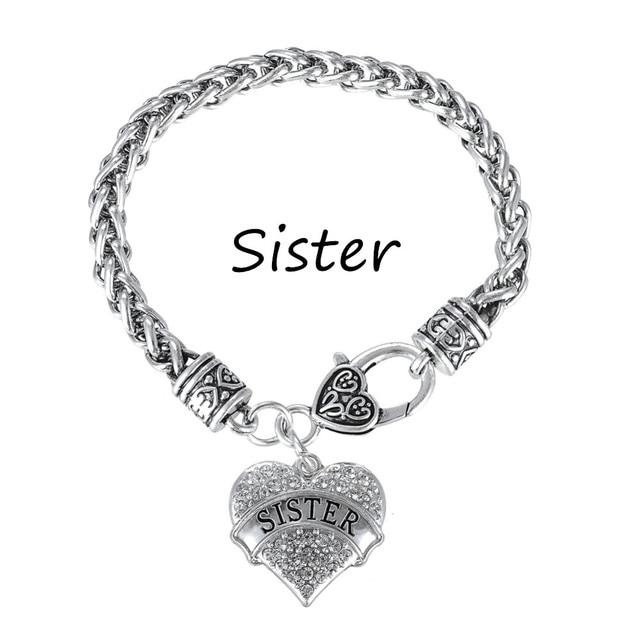 Ma forme Argent Plaqué Cristal Coeur Sœur charme Bracelets BFF Amitié  Bijoux pour Adolescent Filles de