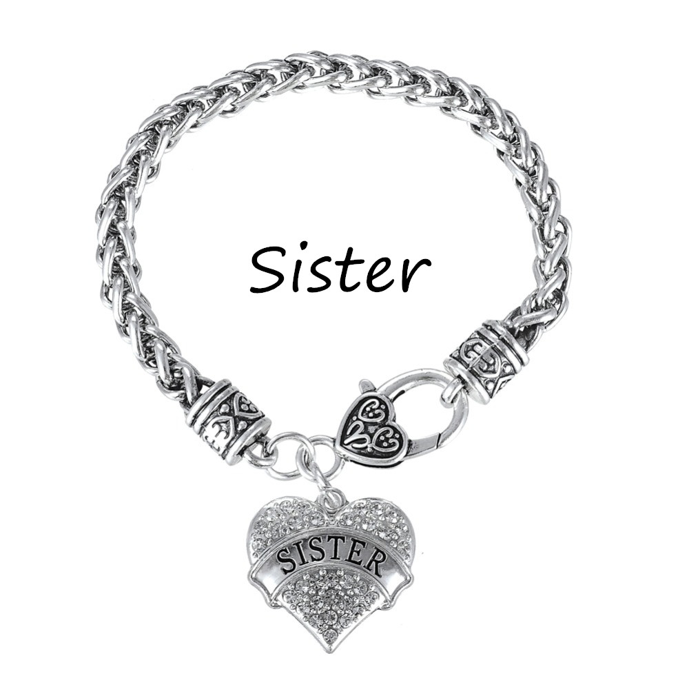 Popular Charm Bracelets 2: My Shape Silver Plated Crystal Heart Sister Charm