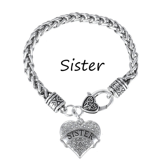 My Shape Silver Plated Crystal Heart Sister Charm Bracelets Bff Friendship Jewelry For S Christmas