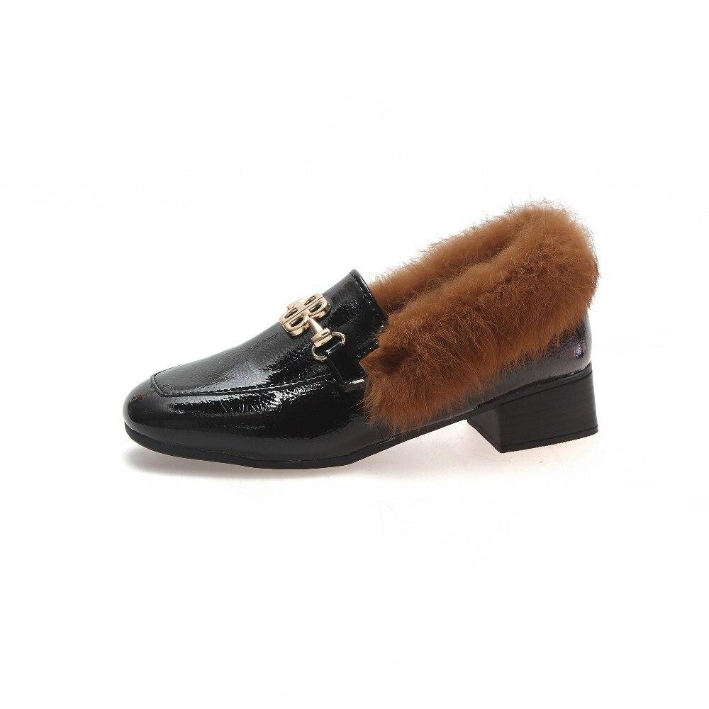 chocolate 2018 Nuevos Salvaje Británico Mulas Zapatos Mujeres Negro caqui Tacón De Piel Las Cuadrado OOrBdq