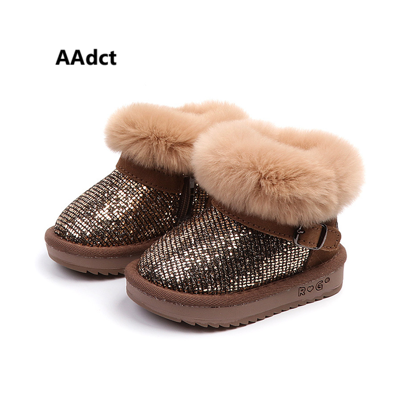 AAdct Fashion rabbit hair sequins snow boots for little girls Fashion warm little kids boots 2018 Winter shinning baby boots maxcity шлем maxcity baby little rabbit