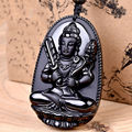 Black Hand-carved Natural Obsidian Buddha Tiger Amulet Pendant Necklace