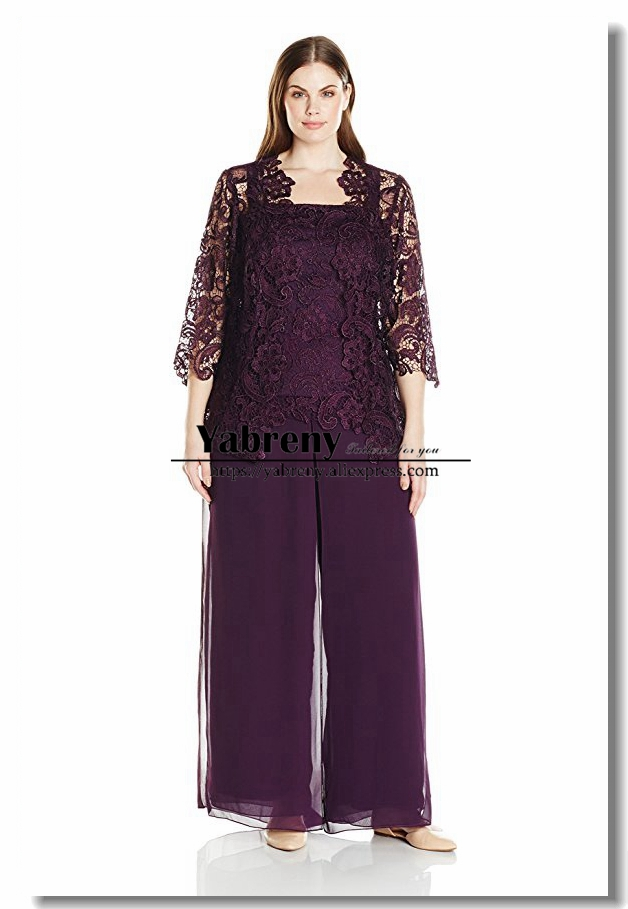 Plus size Purple Three pieces Lace mother of the bride ...