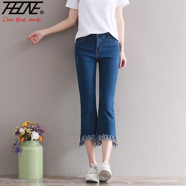 57361e1ca76d3 € 15.13 20% de réduction THHONE Taille Haute Jeans Femmes Casual Pantalon  Stretch Lavé Denim Pantalon Mince Élastique Coton Flare Large Jambe ...
