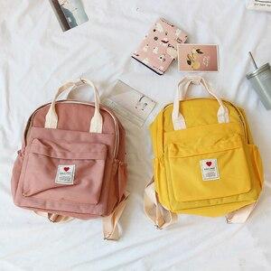 Image 1 - Mochila Ulzzang de Corea del Sur, bolso suave Ins para mujer, estudiante, Harajuku japonés, pequeña, color morado