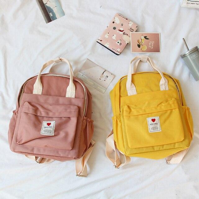 Mochila Ulzzang de Corea del Sur, bolso suave Ins para mujer, estudiante, Harajuku japonés, pequeña, color morado