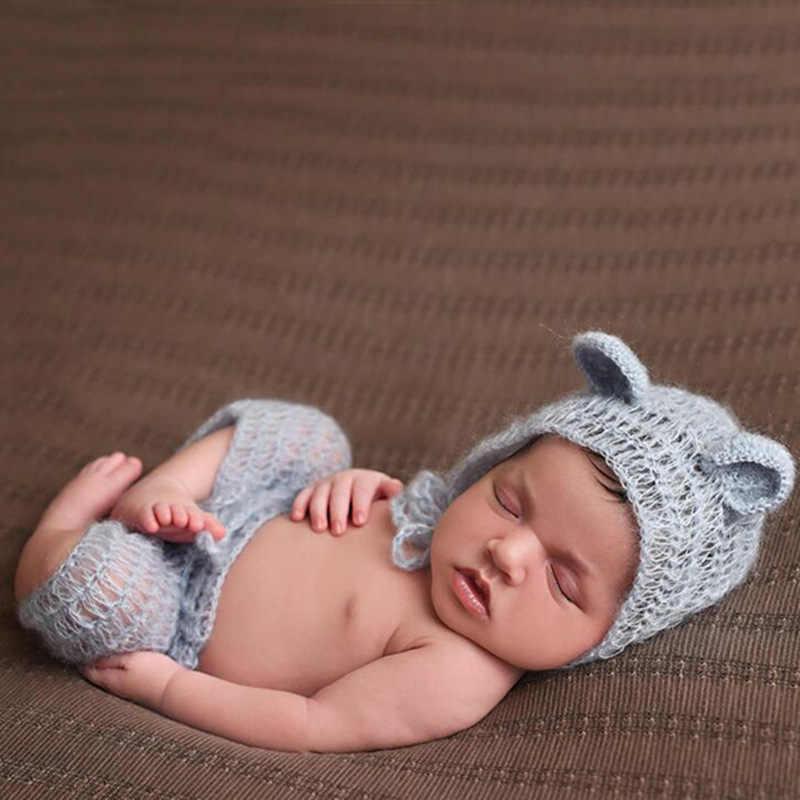 新生児の写真の小道具モヘア新生児服リトルベアー帽子 + パンツセットかぎ針幼児服ベビー写真の小道具アクセサリー