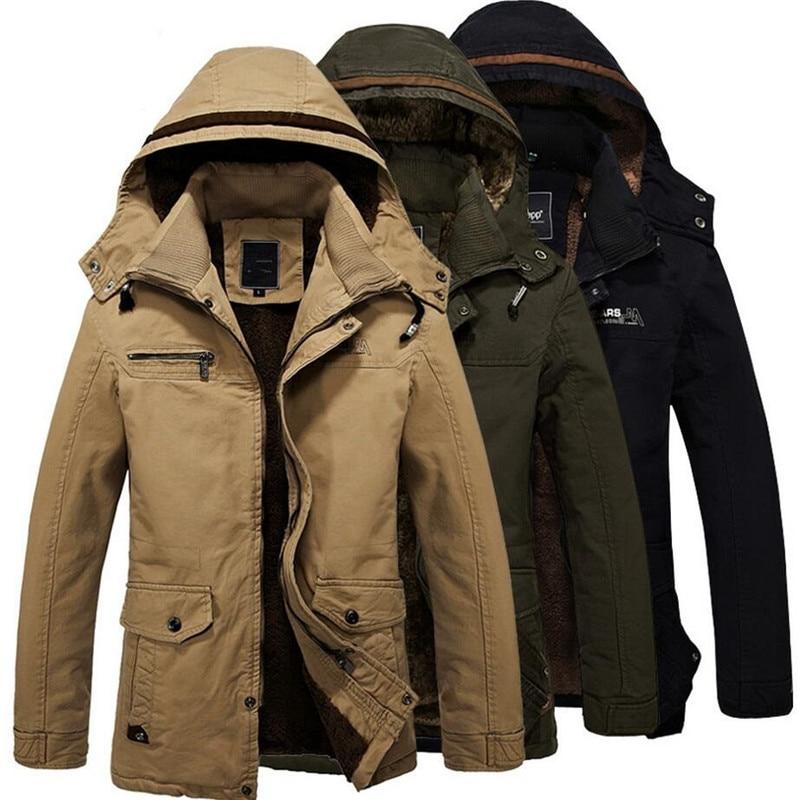 גברים מעיל החורף חדשים ברדס מזדמן זכר להאריך ימים יותר Parka עבה מעיל חם מעייל צבא תרמית כותנה מרופדת בתוספת גודל 4XL