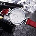 SK 2016 Novas Mulheres Pulseira Relógios de Luxo Da Marca De Relógio de Quartzo-Rosa 4 Cores Pulseira De Couro Relogio feminino Moda Montre Femme 002