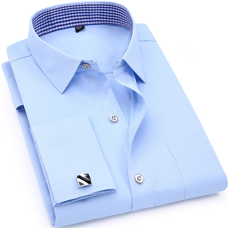 Herrklänning Skjorta Fransk Manschett Blå Vit Långärmad Business - Herrkläder - Foto 2
