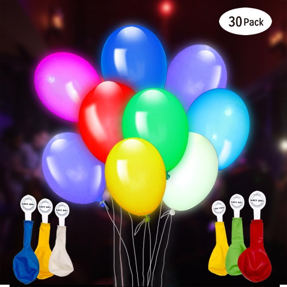 Home-Neat 30 Pack 12 Inch LED Light Up Balloons Premium Mixed-Colors Flashing Party Lights For Birthday Wedding Party Decoration