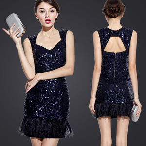 Online Shop UNIQUEWHO Women Elegant Sequin Mini Dress Sexy Exposed Back  Navy Blue Sequined Feather Tank Dress Club Evening Party Dress 2018  cd59568960f5