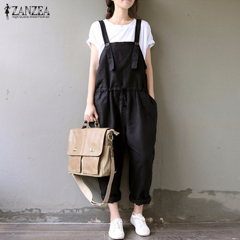 ZANZEA Autumn Rompers 2016 Hot Sale Womens Jumpsuit Sleeveless Pockets Harem Trousers Strap Casual Loose Overalls Playsuit