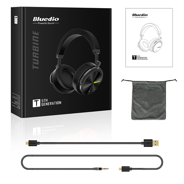 Bluedio T5 Active Noise Cancelling Wireless Bluetooth Headphones Portable Headset with microphone for phones and music Phone Earphones & Headphones