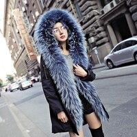 2018 новая зимняя куртка Для женщин енота на меховой подкладке парка пальто с натуральным мехом пальто натуральный мех енота меховой воротни