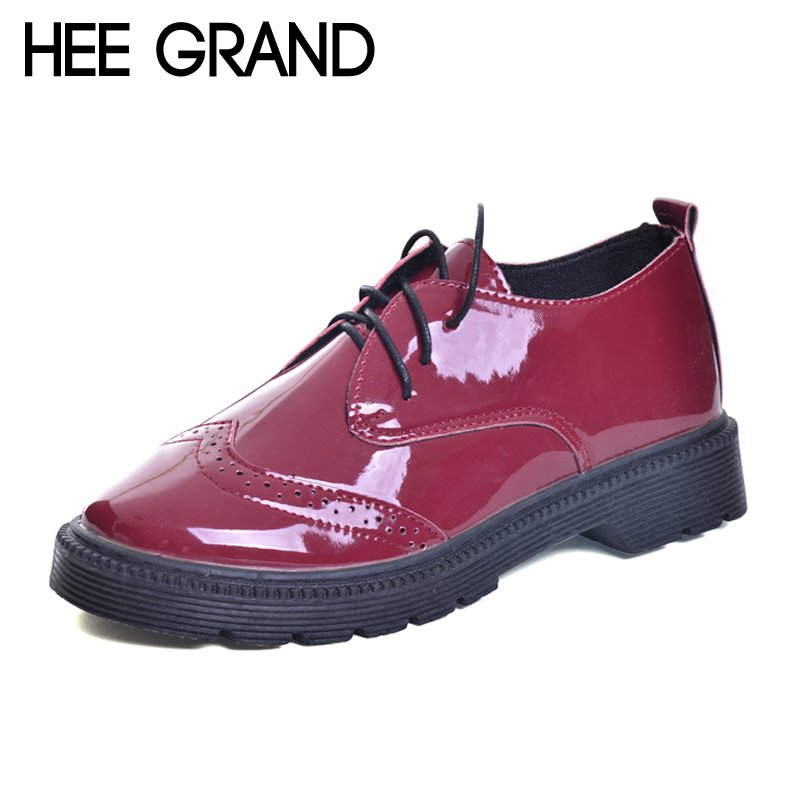 HEE GRAND Brogue Shoes Woman Lace-up Platform Oxfords British Style Creepers Cut-Outs Flat Casual Women Shoes XWD6004 phyanic 2017 gladiator sandals gold silver shoes woman summer platform wedges glitters creepers casual women shoes phy3323