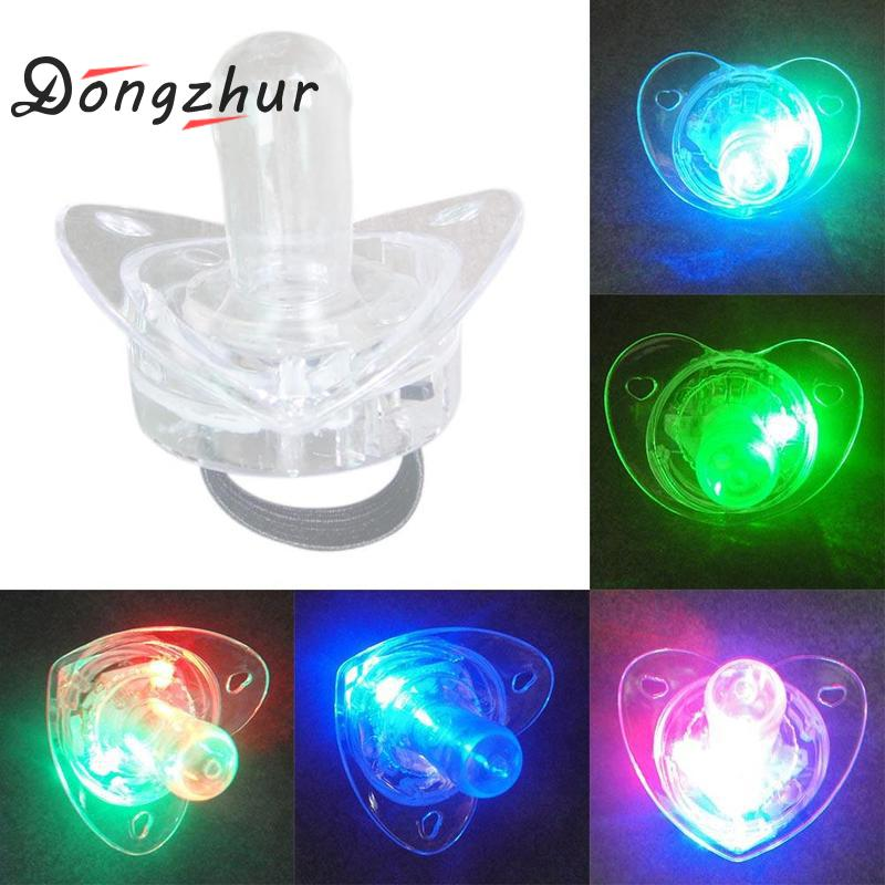 1 Pc Colorful Night Light Led Pacifier Rave Binkie Soft Light Up Toy Necklace Glowing Flashing Led Nipple Toys Cheer Props