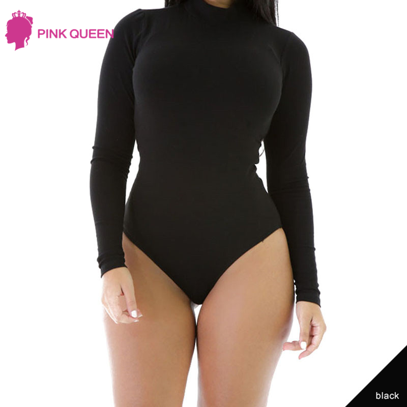 Pink Queen Salopette Short Femme Women Bodysuit Lady Bodycon Mesh Bodysuit Women Black Bodysuit Romper Women Long Sleeve 2018