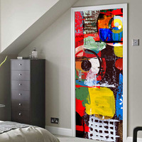 3d Door Sticker Mural Art Wallpaper Graffiti Oil Painting Pattern Removable Room Posters Wall Home Gate Renovation Stickers