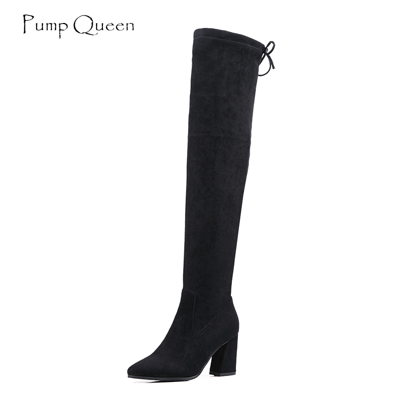 PumpQueen Thigh High Boots Women Over The Knee Boots Elasticity Long Leg Shoes Woman Block High Heel Pointed Toe 2018 New Brand
