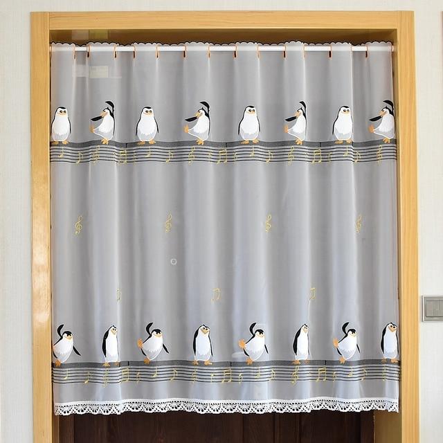 Cartoon Half Curtain Lace Embroidery Hem Lovely Penguins Pattern