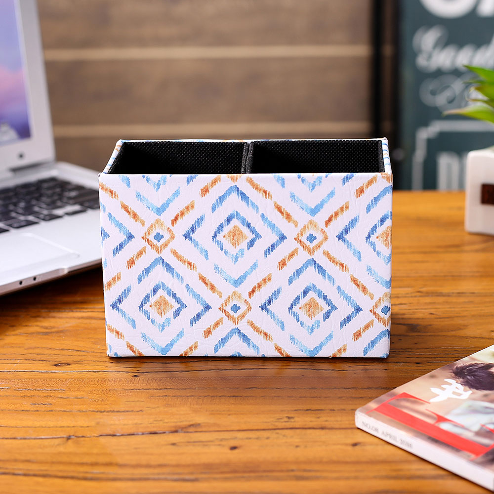 LINKWELL Fashion Ikat Blue Brown Pattern PU leather Pencil Pen Holder Desk Organizer Storage Box Case Collect Home Decor Table