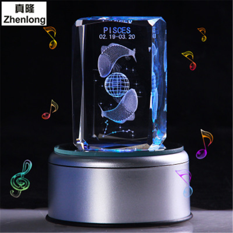 Pisces 3D Crystal Ball Pokemon Go Glass Ball Home Decoration Lamp LED Colorful Rotate Base Music Box Art Furnishing Articles цена