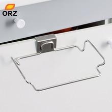 ORZ Large Garbage Bags Holder Kitchen Wash Cloth Towel Storage Rack Stainless Steel Hanging Cupboard Cabinet Organizer Shelf