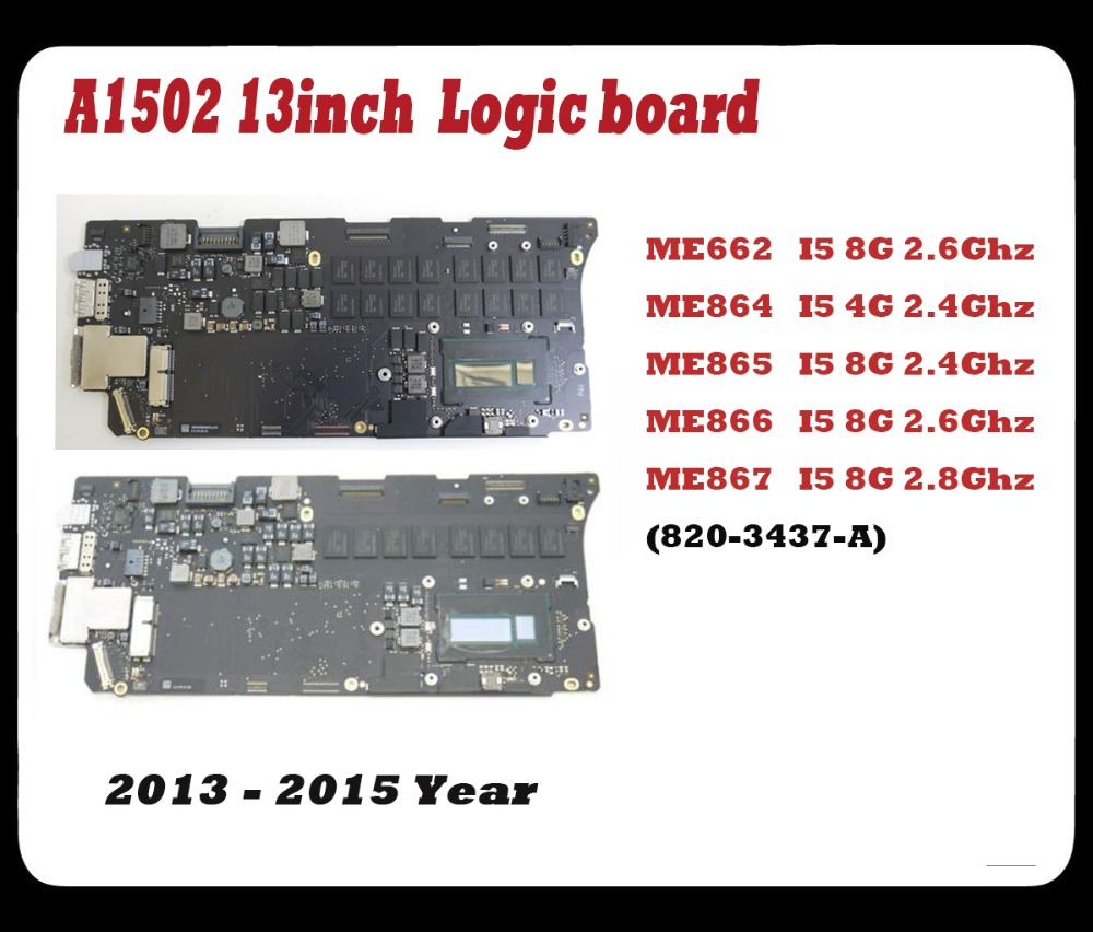 Original tested logic board for Macbook Pro Retina 13'' A1502 motherboard  I5 8G 2.8Ghz MGX92  2014 Year