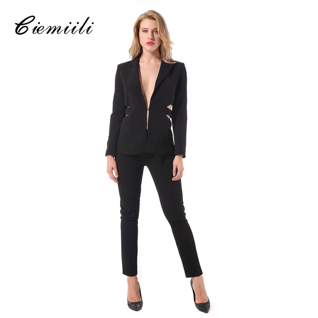 ciemiili 2018 new womens suits blazer with pants button and zipper