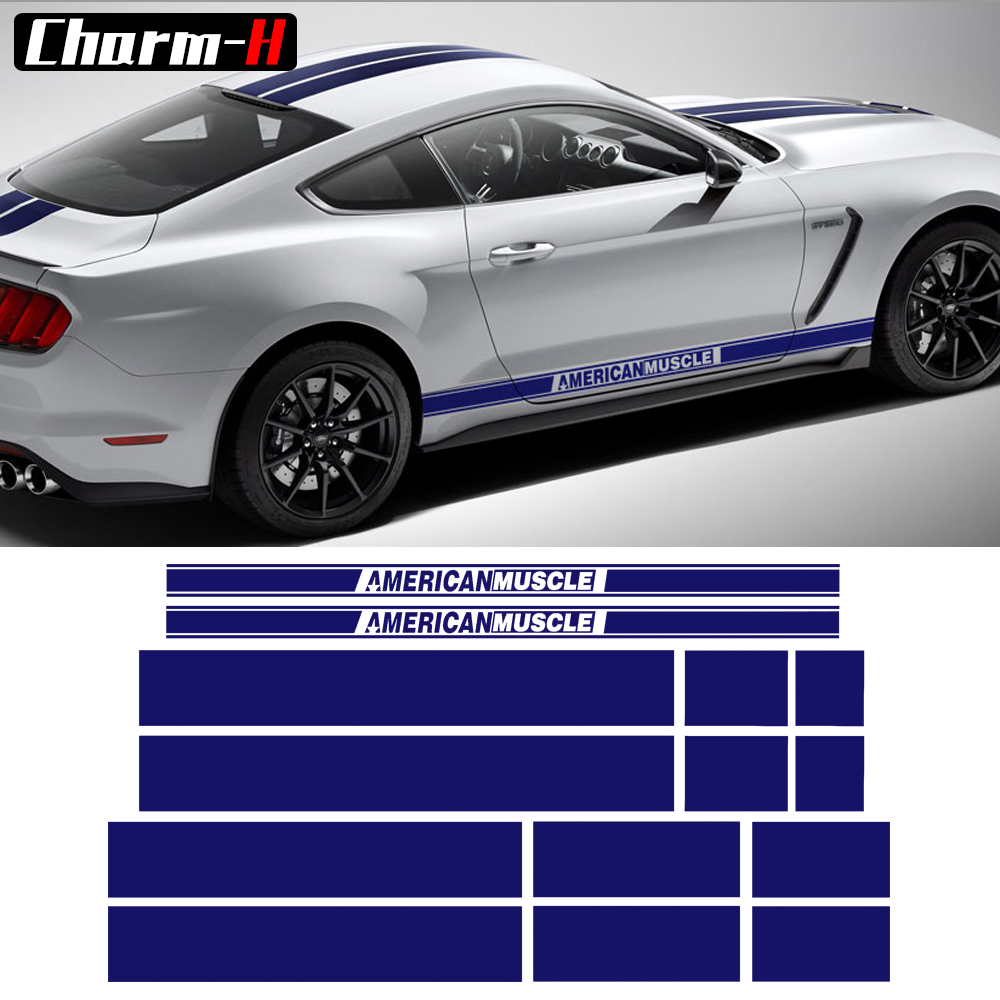 AMERICAN MUSCLE Side Door Stripes Front Rear Bumper Hood Roof Trunk Graphic Decal stickers for Ford Mustang 2015-2017, 6 colors car styling hood trunk rear bonnet side stripes decal stickers jcw work graphic all4 for mini cooper countryman f60 2017 present