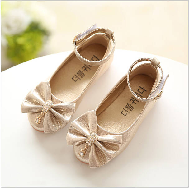 Children Princess Shoes Pink  Gold Silvers Band Soft Sole PU Leather  Fashion Bowknot Rhinestone 1e6ceaef5509