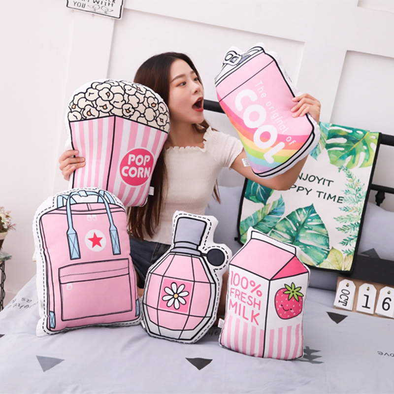 Cartoon Bag Donut Plush Toy Pink Girl Love Popsicle Perfume Milk Plush Pillow Child Comfort Toy Birthday Christmas Gift