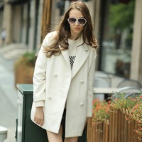 Veri Gude Winter 2014 New Women S Flat Collar Medium Down Double Breasted Woolen Coat