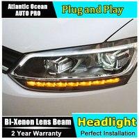 For vw polo headlights 2011 2018 new models car styling LED car styling xenon lens car light led bar H7 led parking light