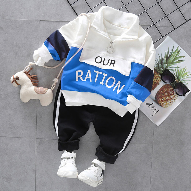 """2-Piece Stylish Letter Print """"Our Ration"""" Jacket with Striped Pants Set for Baby / Toddlers Boy"""